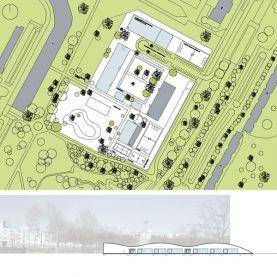 Bild Neubau von Klassenräumen in Parkgelände